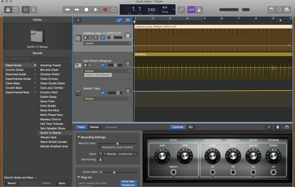 Screenshot of Garage Band app